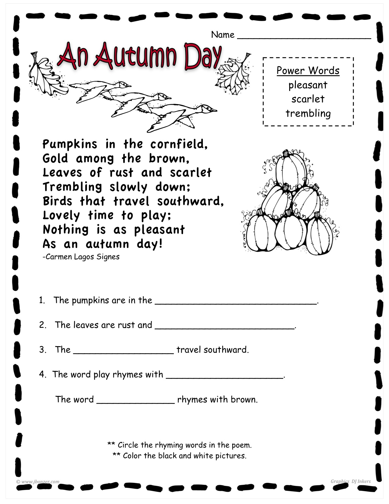 Uncategorized Fall Worksheets For First Grade mrs bonzers miscellaneous printables fall