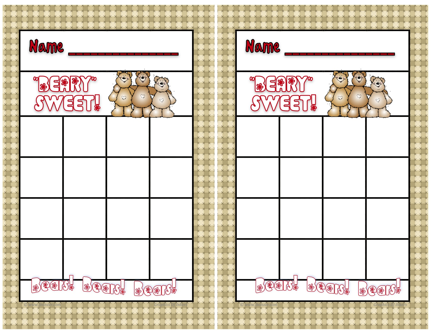 Mrs Bonzers Miscellaneous Printables – Blank Sticker Chart