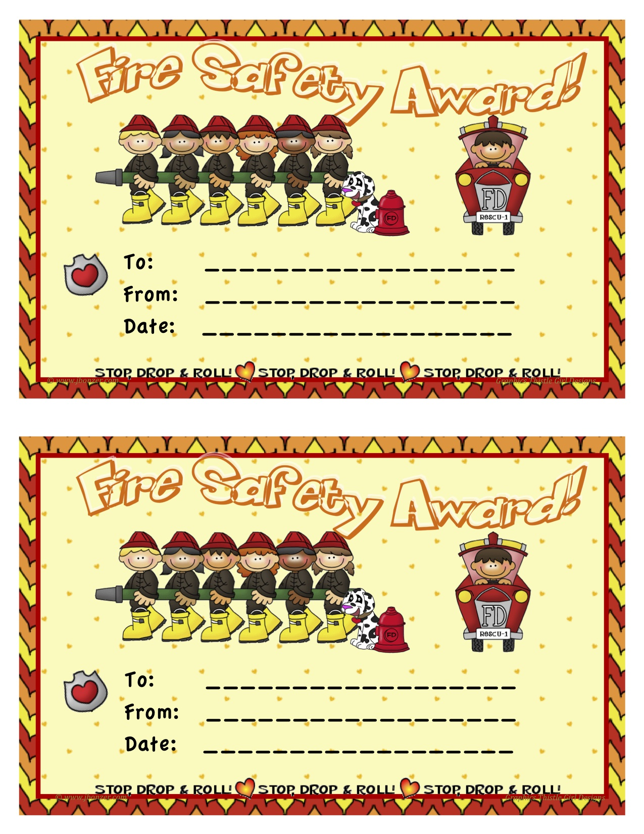 Mrs bonzers miscellaneous printables fire safety award yadclub Choice Image
