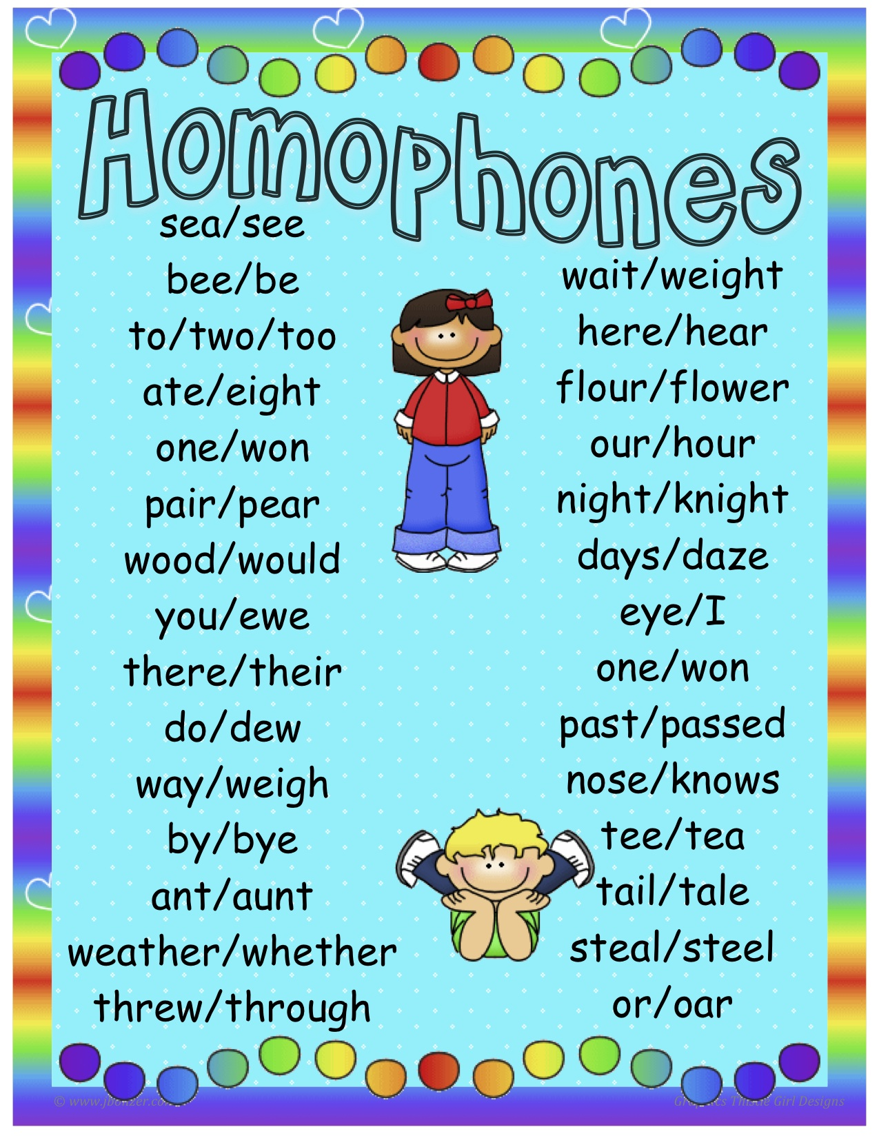 Homophones word list pictures to pin on pinterest