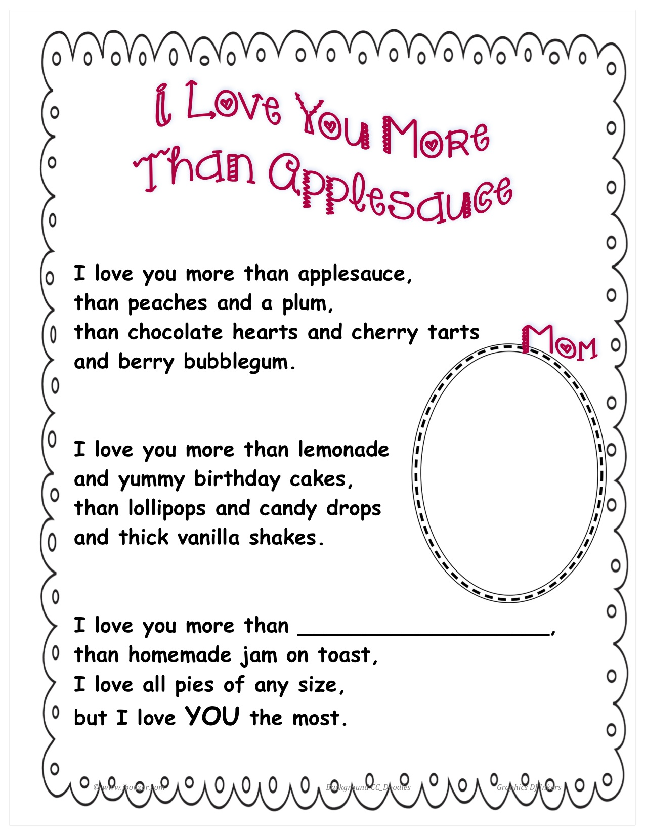 i love you more than applesauce poem