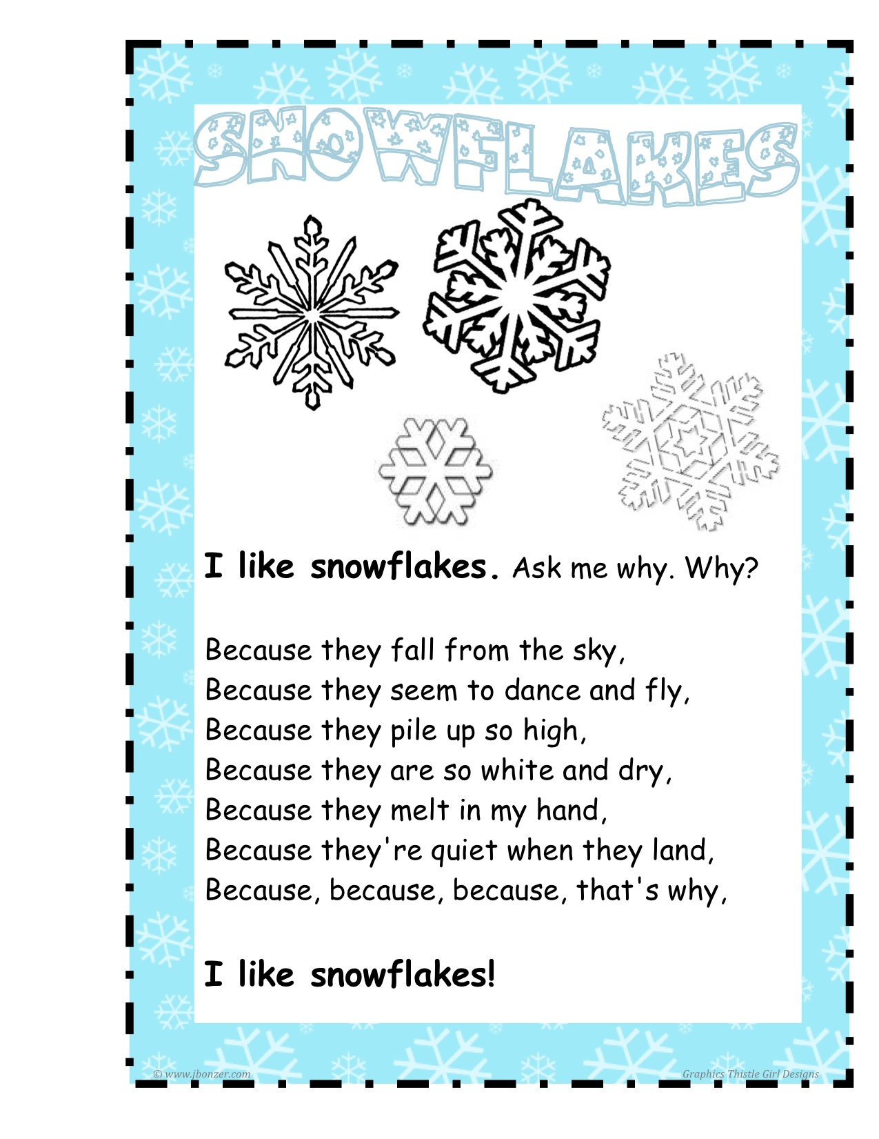 Snowflake poems about being unique for kids