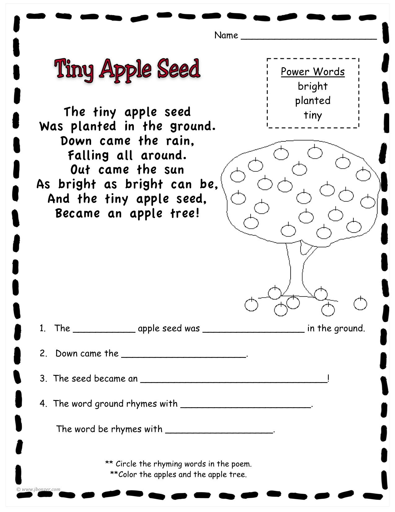 Worksheets Johnny Appleseed Worksheets mrs bonzers miscellaneous printables apple seed