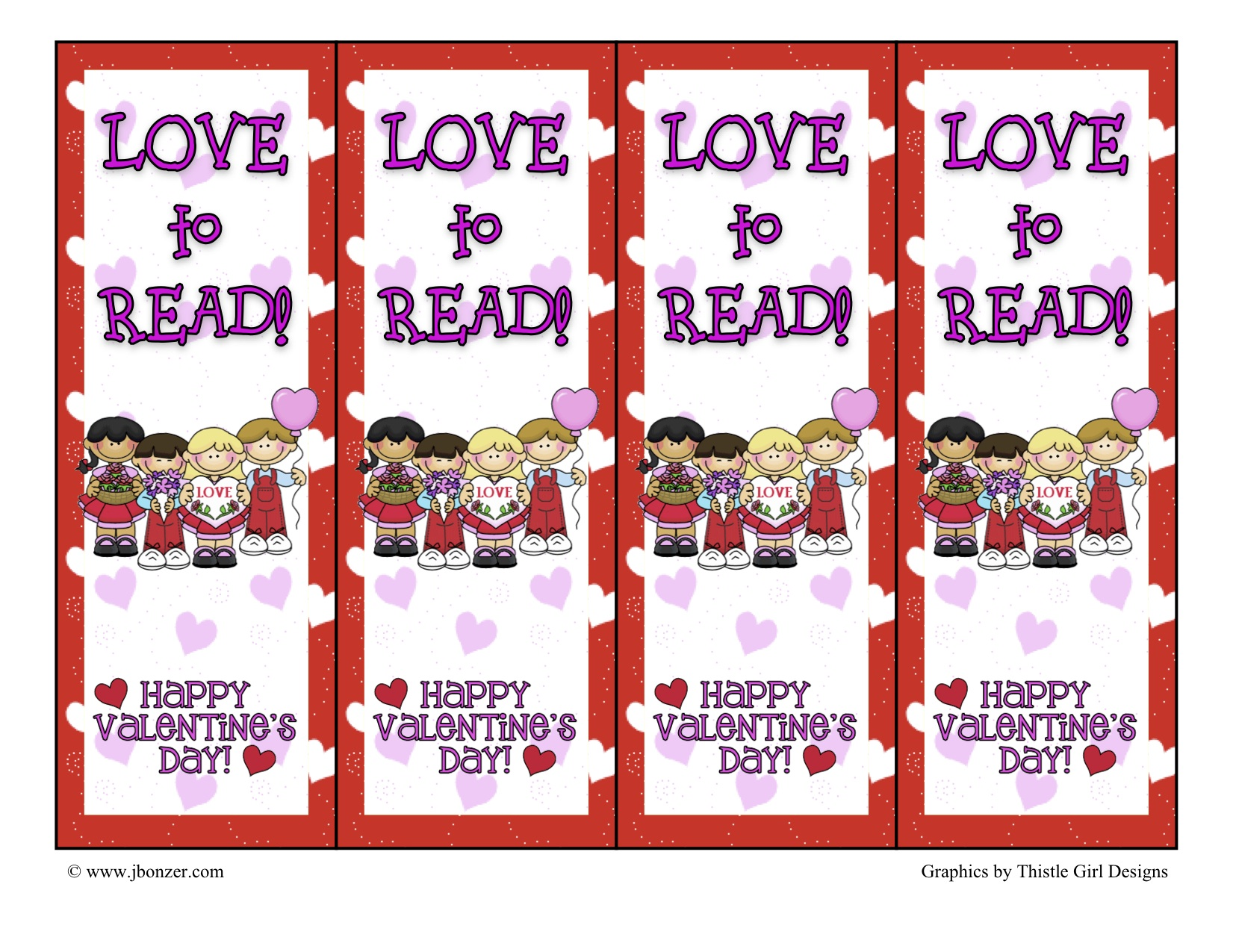 Free Printable Coloring Valentine Bookmarks Free coloring pages